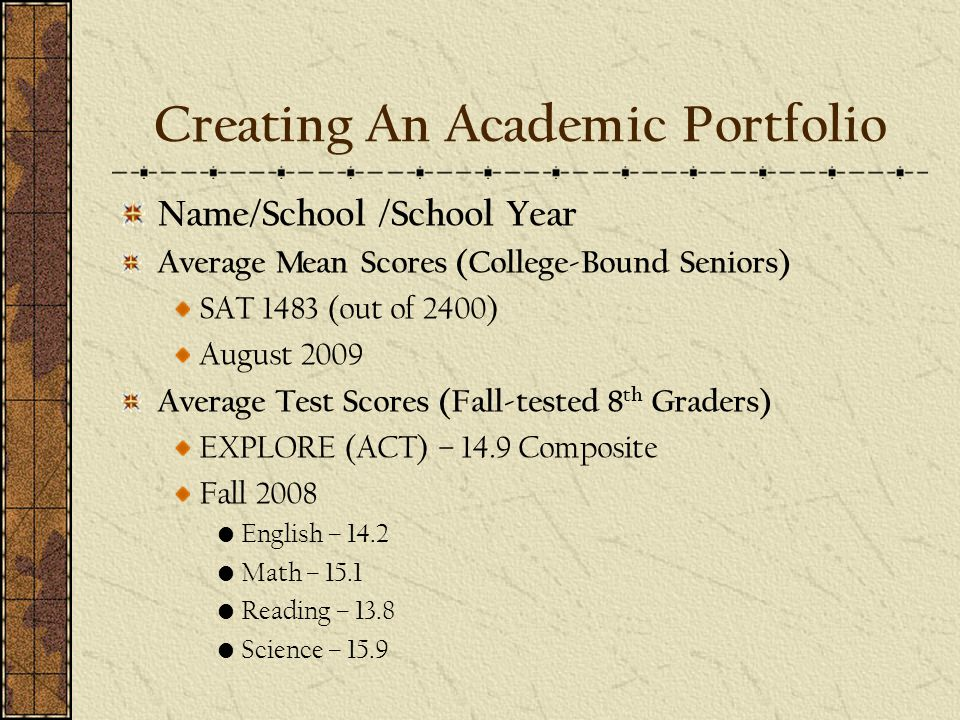 Creating An Academic Portfolio Name/School /School Year Average Mean Scores (College-Bound Seniors) SAT 1483 (out of 2400) August 2009 Average Test Scores (Fall-tested 8 th Graders) EXPLORE (ACT) – 14.9 Composite Fall 2008 English – 14.2 Math – 15.1 Reading – 13.8 Science – 15.9