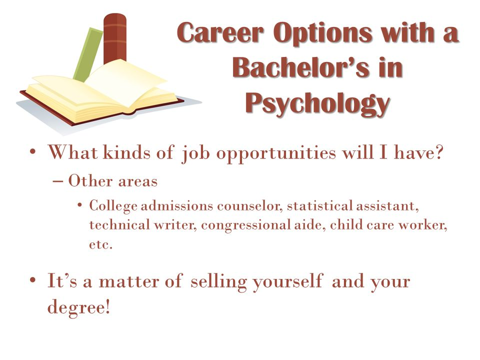 What kinds of job opportunities will I have? – Other areas College admissions counselor, statistical assistant, technical writer, congressional aide,