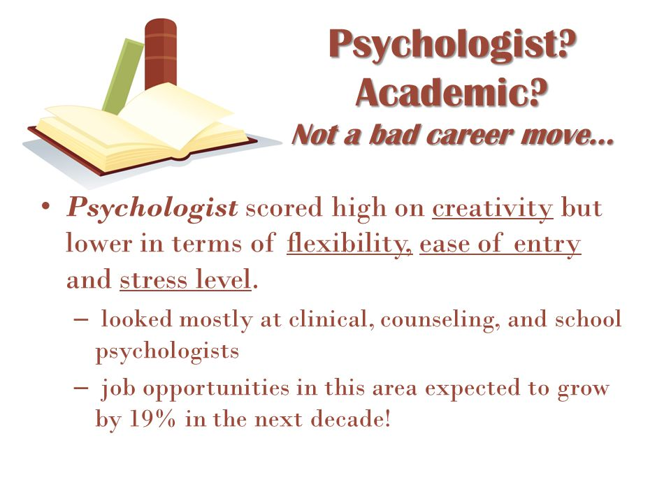 Psychologist? Academic? Not a bad career move… Psychologist scored high on creativity but lower in terms of flexibility, ease of entry and stress leve