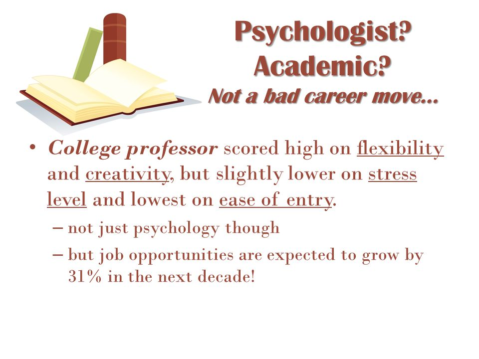 College professor scored high on flexibility and creativity, but slightly lower on stress level and lowest on ease of entry. – not just psychology tho