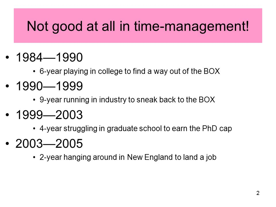2 Not good at all in time-management! 1984—1990 6-year playing in college to find a way out of the BOX 1990—1999 9-year running in industry to sneak b