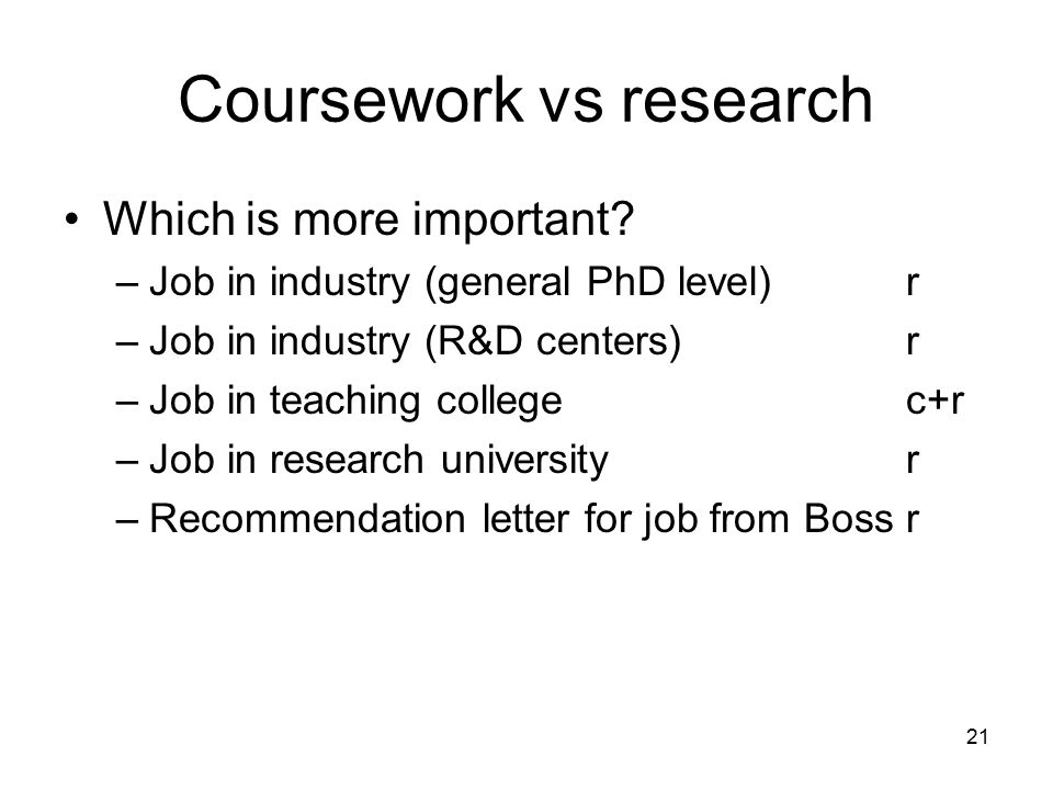 21 Coursework vs research Which is more important.