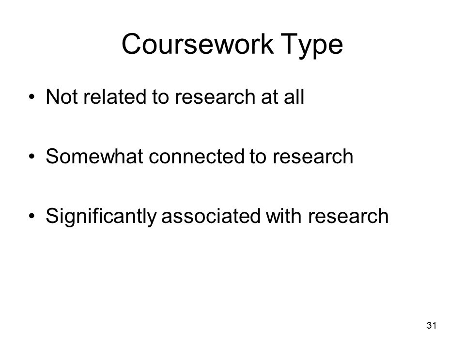 31 Coursework Type Not related to research at all Somewhat connected to research Significantly associated with research