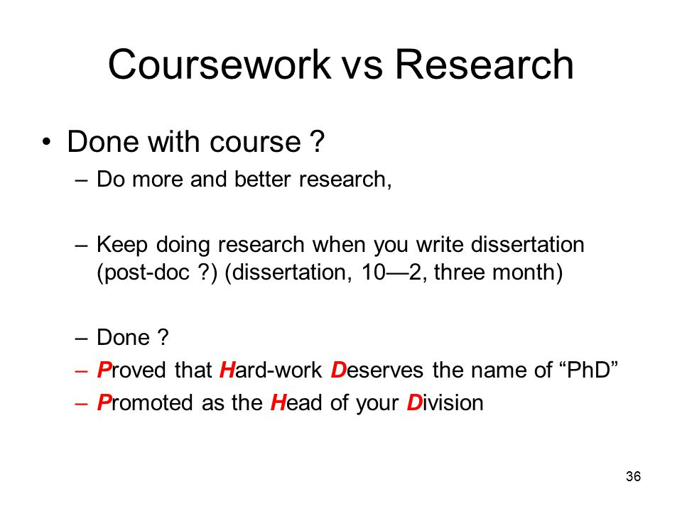 36 Coursework vs Research Done with course .