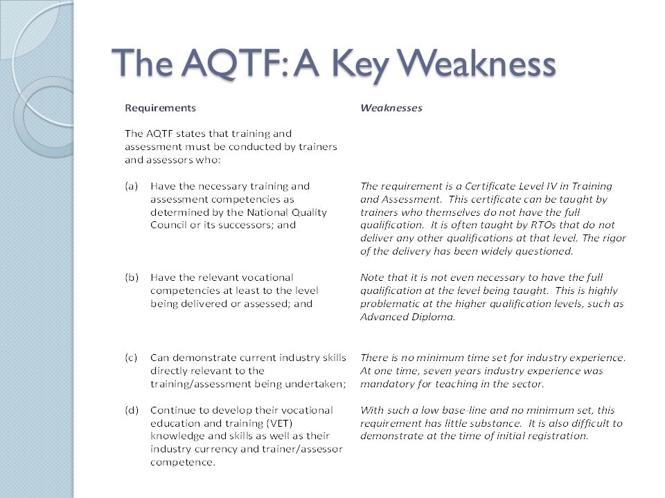 The AQTF: A Key Weakness