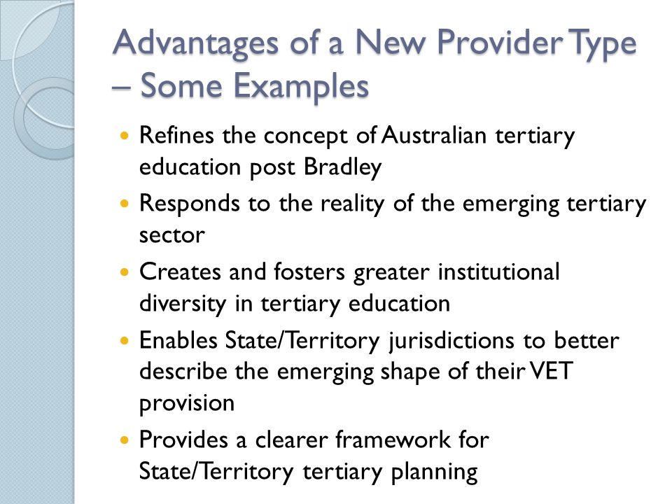 Advantages of a New Provider Type – Some Examples Refines the concept of Australian tertiary education post Bradley Responds to the reality of the emerging tertiary sector Creates and fosters greater institutional diversity in tertiary education Enables State/Territory jurisdictions to better describe the emerging shape of their VET provision Provides a clearer framework for State/Territory tertiary planning