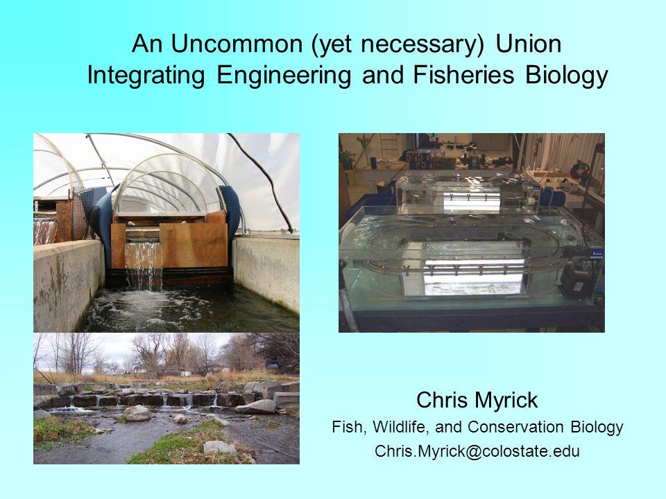 An Uncommon (yet necessary) Union Integrating Engineering and Fisheries Biology Chris Myrick Fish, Wildlife, and Conservation Biology Chris.Myrick@col