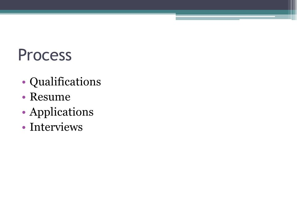 Process Qualifications Resume Applications Interviews