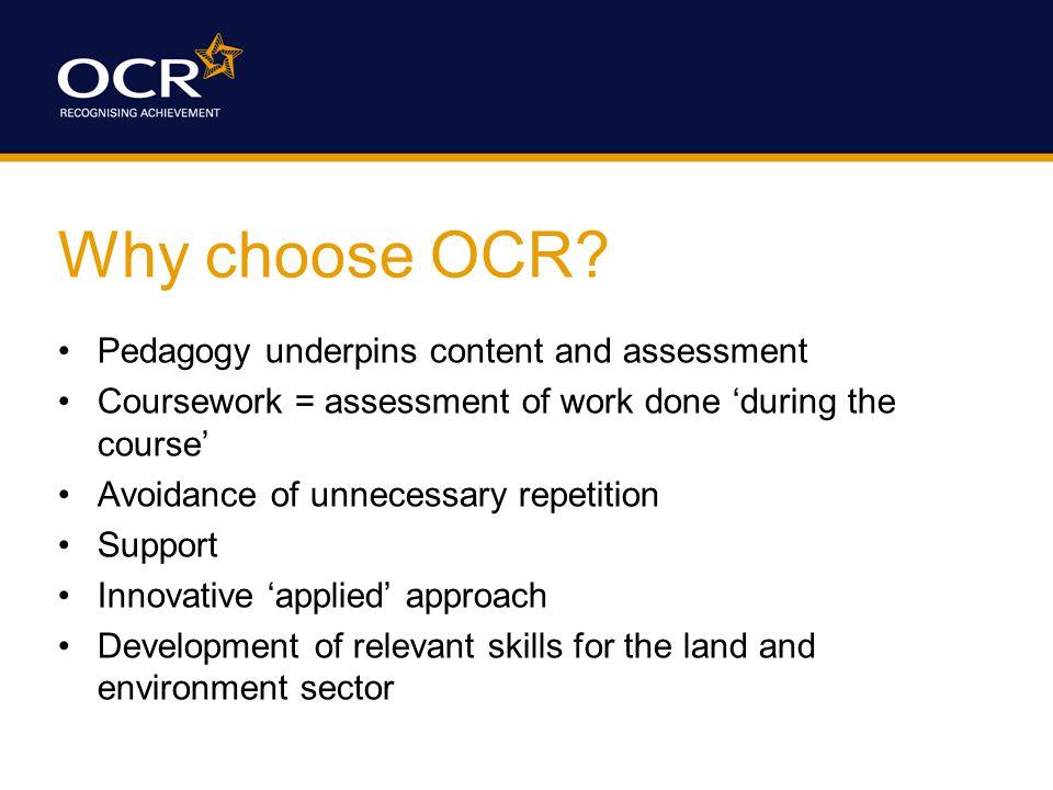 Why choose OCR.