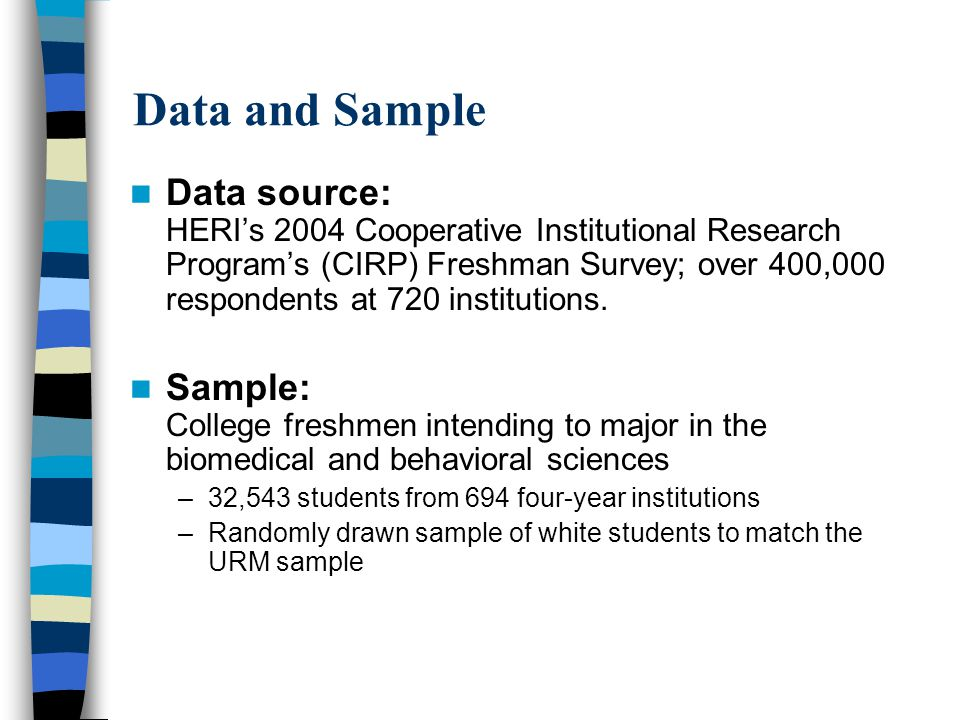 Data and Sample Data source: HERI's 2004 Cooperative Institutional Research Program's (CIRP) Freshman Survey; over 400,000 respondents at 720 institutions.