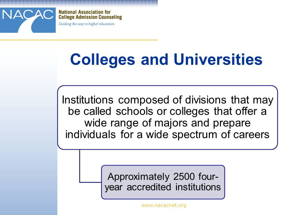 www.nacacnet.org Institutions composed of divisions that may be called schools or colleges that offer a wide range of majors and prepare individuals for a wide spectrum of careers Approximately 2500 four- year accredited institutions Colleges and Universities