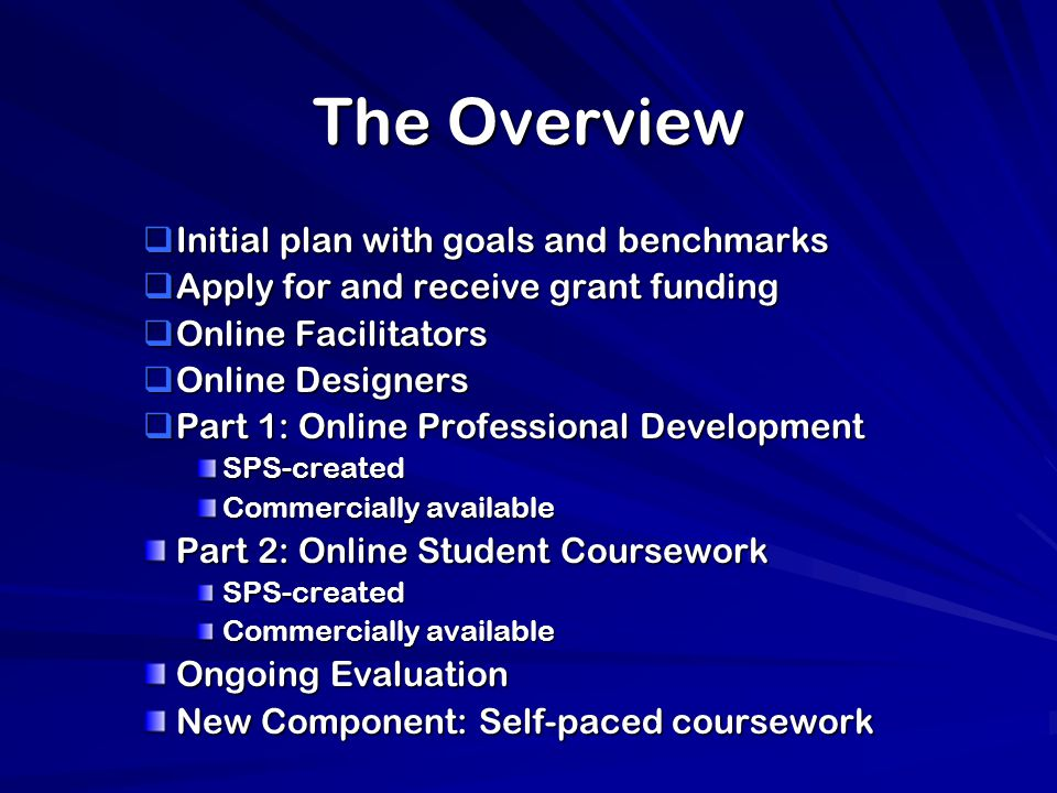 The Overview  Initial plan with goals and benchmarks  Apply for and receive grant funding  Online Facilitators  Online Designers  Part 1: Online Professional Development SPS-created Commercially available Part 2: Online Student Coursework SPS-created Commercially available Ongoing Evaluation New Component: Self-paced coursework