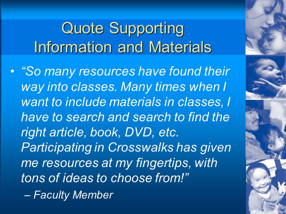 Quote Supporting Information and Materials So many resources have found their way into classes.