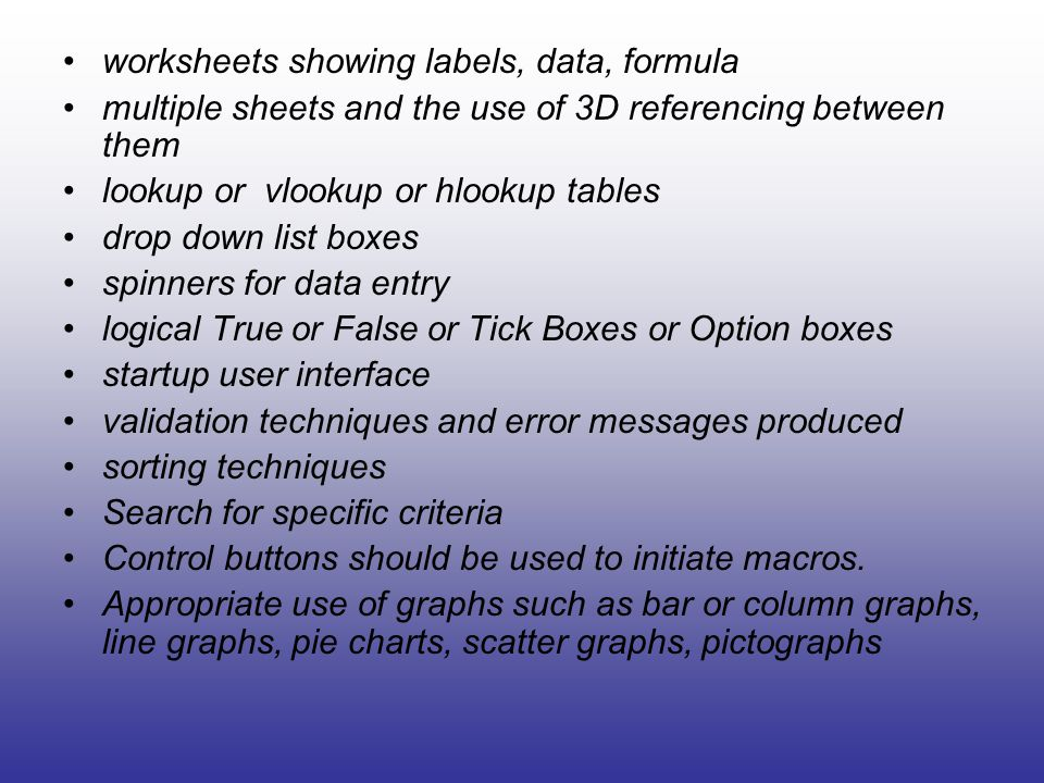 worksheets showing labels, data, formula multiple sheets and the use of 3D referencing between them lookup or vlookup or hlookup tables drop down list boxes spinners for data entry logical True or False or Tick Boxes or Option boxes startup user interface validation techniques and error messages produced sorting techniques Search for specific criteria Control buttons should be used to initiate macros.