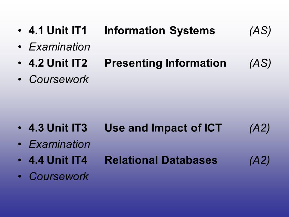 ICT1 60 % 2 hours 15 minutes Written Paper Unit title (ICT1) A written paper of two sections, presented in a question and answer booklet.