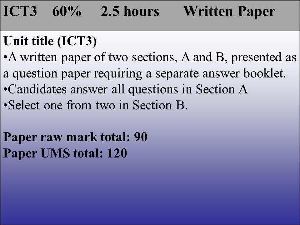 ICT3 60% 2.5 hours Written Paper Unit title (ICT3) A written paper of two sections, A and B, presented as a question paper requiring a separate answer booklet.