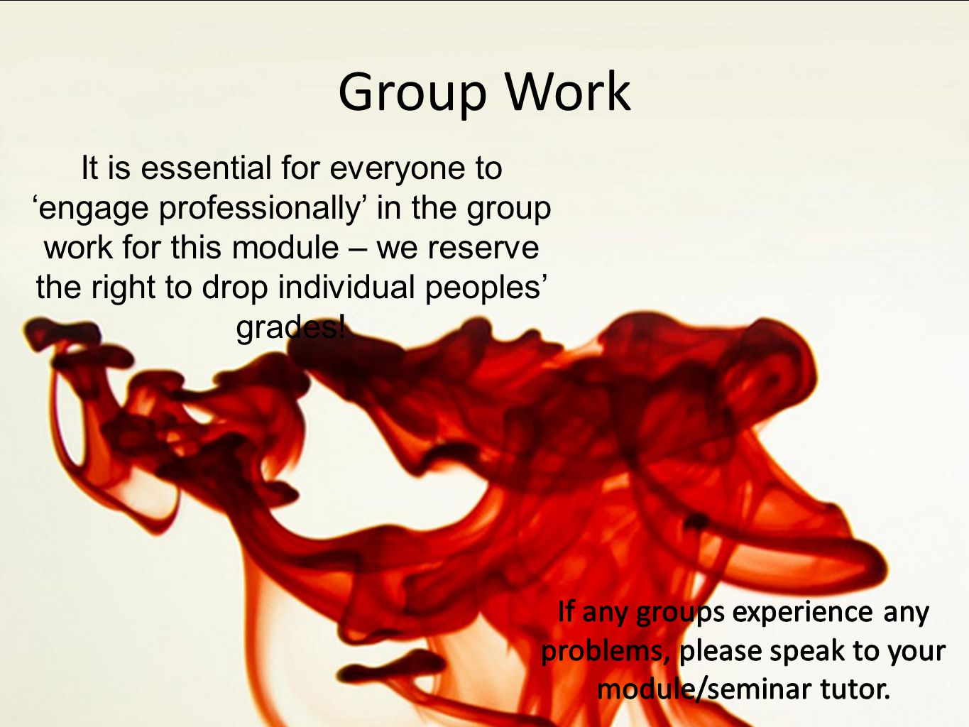 Group Work It is essential for everyone to 'engage professionally' in the group work for this module – we reserve the right to drop individual peoples' grades!