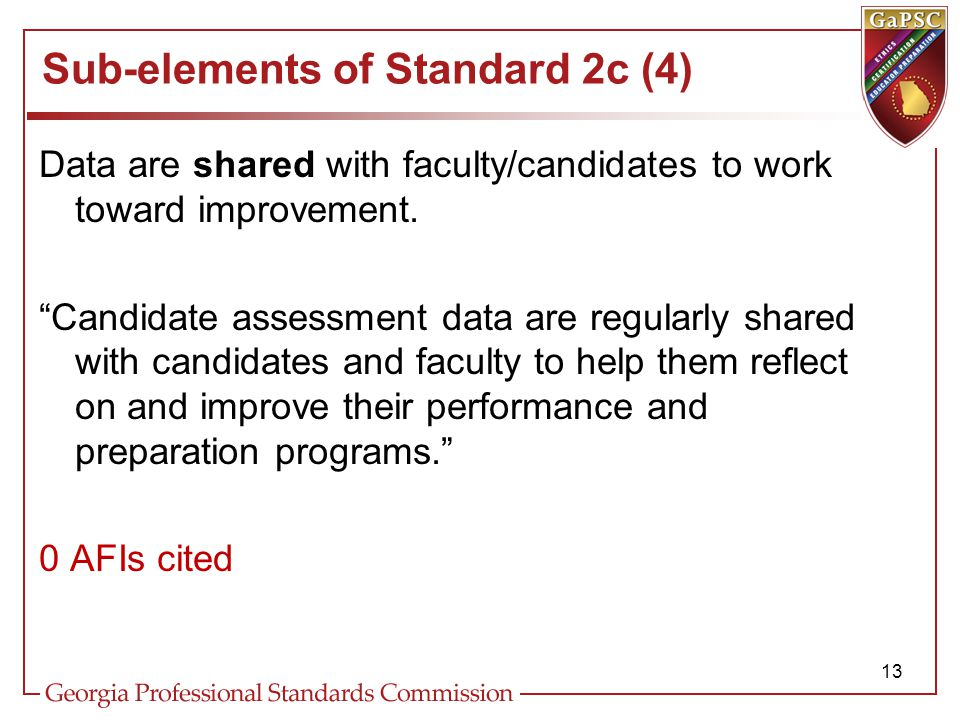 Sub-elements of Standard 2c (4) Data are shared with faculty/candidates to work toward improvement.