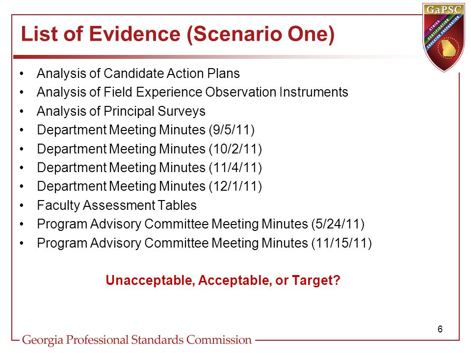 List of Evidence (Scenario One) Analysis of Candidate Action Plans Analysis of Field Experience Observation Instruments Analysis of Principal Surveys Department Meeting Minutes (9/5/11) Department Meeting Minutes (10/2/11) Department Meeting Minutes (11/4/11) Department Meeting Minutes (12/1/11) Faculty Assessment Tables Program Advisory Committee Meeting Minutes (5/24/11) Program Advisory Committee Meeting Minutes (11/15/11) Unacceptable, Acceptable, or Target.