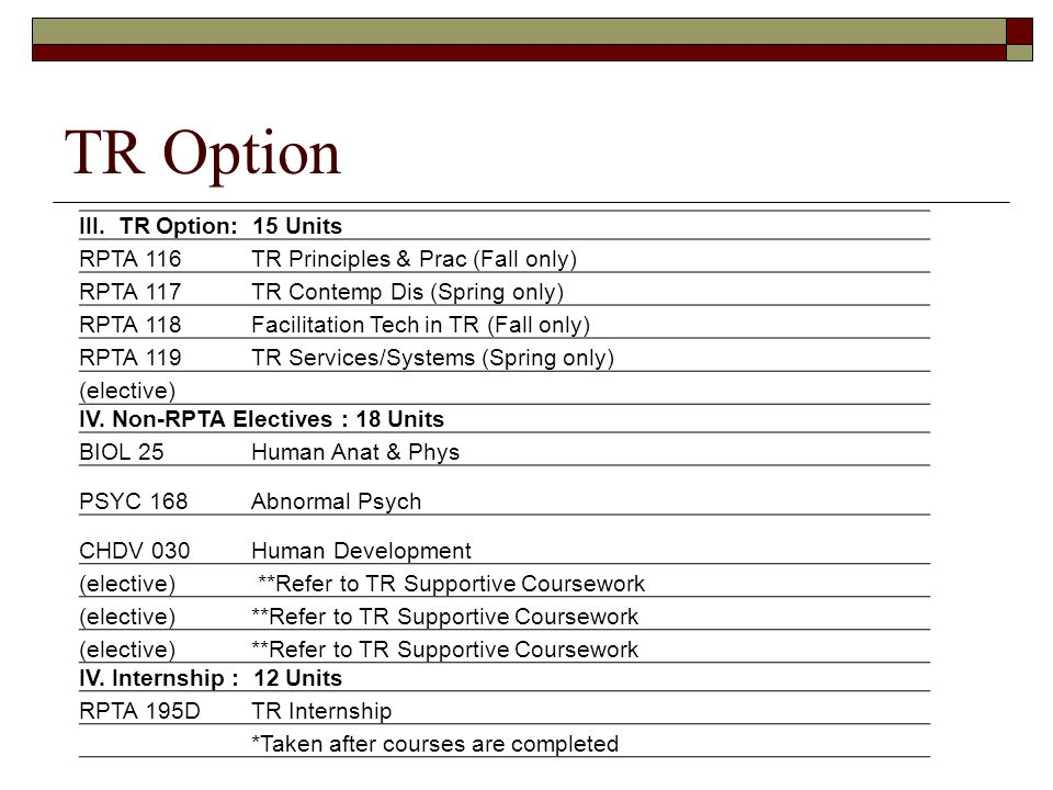 TR Option III. TR Option: 15 Units RPTA 116 TR Principles & Prac (Fall only) RPTA 117 TR Contemp Dis (Spring only) RPTA 118 Facilitation Tech in TR (F