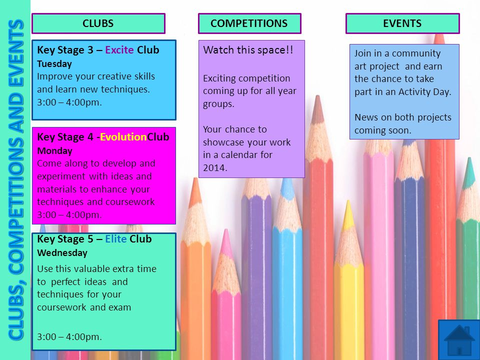Key Stage 4 -EvolutionClub Monday Come along to develop and experiment with ideas and materials to enhance your techniques and coursework 3:00 – 4:00pm.