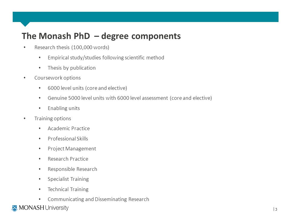 3 The Monash PhD – degree components Research thesis (100,000 words) Empirical study/studies following scientific method Thesis by publication Coursework options 6000 level units (core and elective) Genuine 5000 level units with 6000 level assessment (core and elective) Enabling units Training options Academic Practice Professional Skills Project Management Research Practice Responsible Research Specialist Training Technical Training Communicating and Disseminating Research