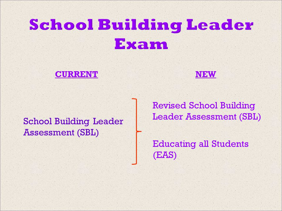 School Building Leader Exam CURRENTNEW School Building Leader Assessment (SBL) Revised School Building Leader Assessment (SBL) Educating all Students