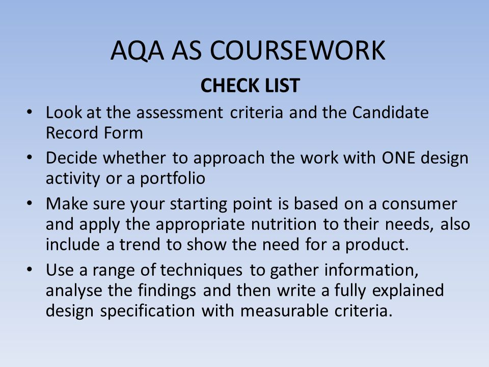 CRITERION ONE POINTS TO CONSIDER WHEN WRITING A DESIGN BRIEF A.A specific target group/consumer B.A nutritional focus C.An opportunity to show a trend D.A meal situation – the product should be suitable to serve as a starter, main course, dessert or snack.