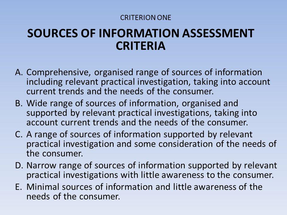 CRITERION ONE ANALYSIS ASSESSMENT CRITERIA A.Perceptive analysis B.Good analysis of information C.Some analysis of information D.Little analysis of information E.No analysis