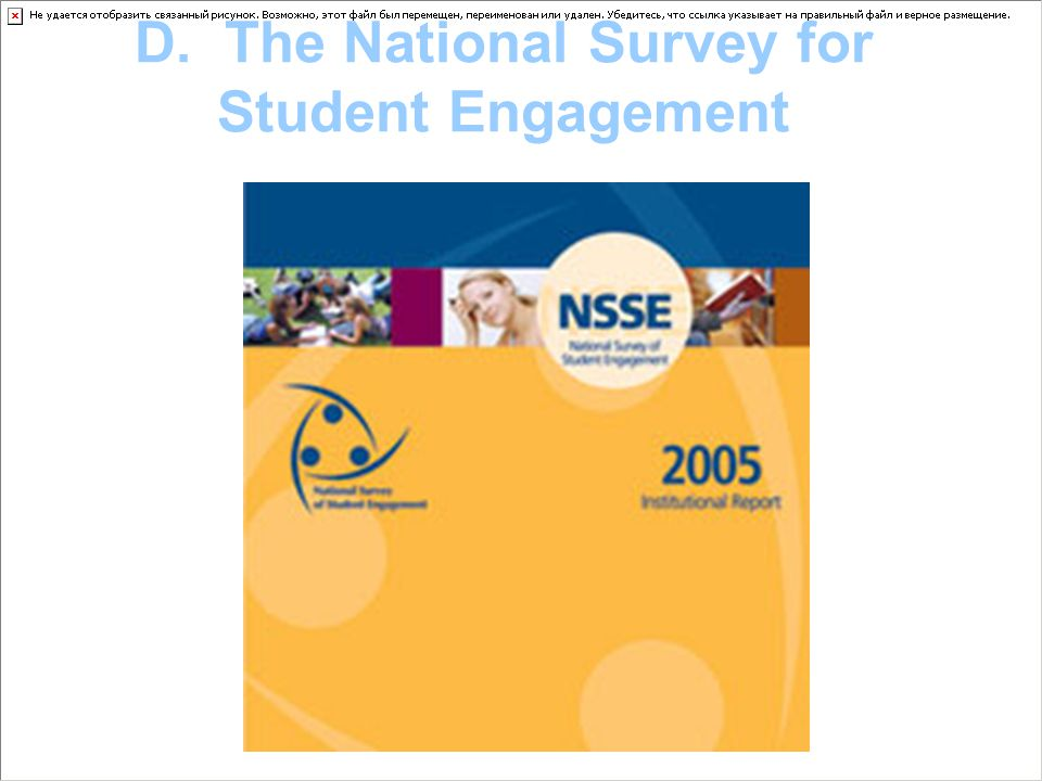 Today's Presentation Briefly introduce the NSSE Focus on two question categories Point out some potential uses of the NSSE for Student Affairs Share a few examplesShare a few examples of how NSSE is currently used at ISU Transition to discussions of how to use this (and other) information in Student Affairs
