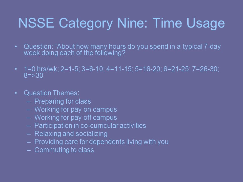 NSSE Category Nine: Time Usage Question: About how many hours do you spend in a typical 7-day week doing each of the following.