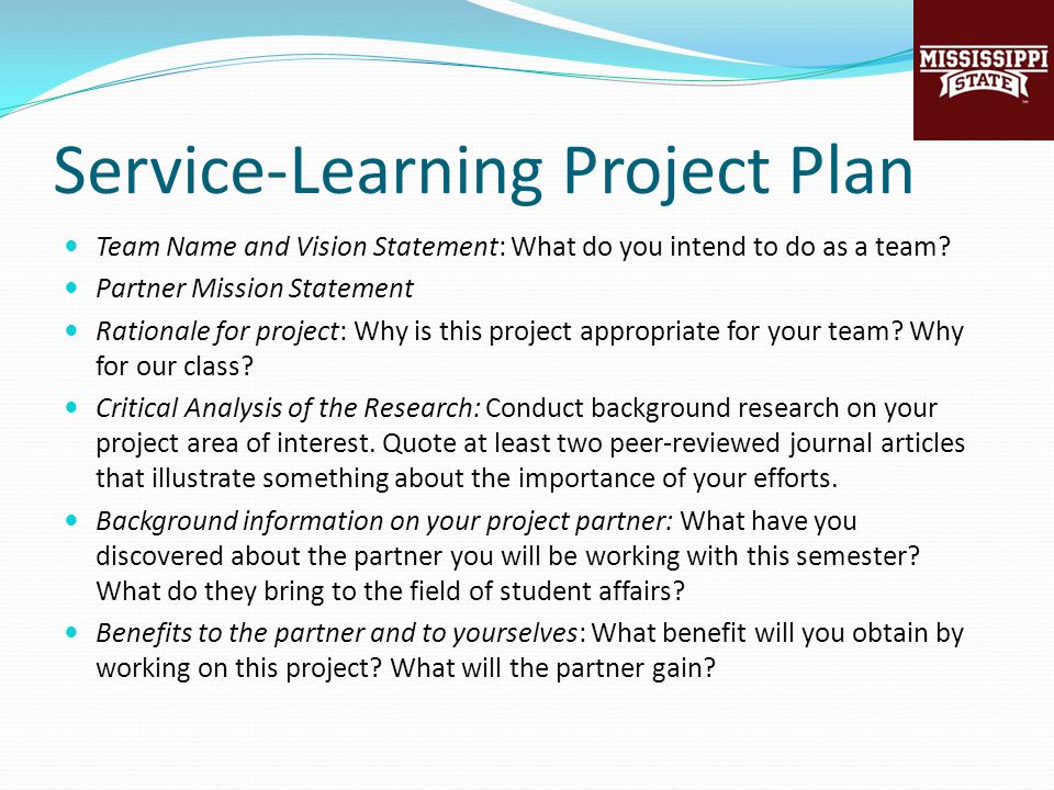 Service-Learning Project Plan Team Name and Vision Statement: What do you intend to do as a team.