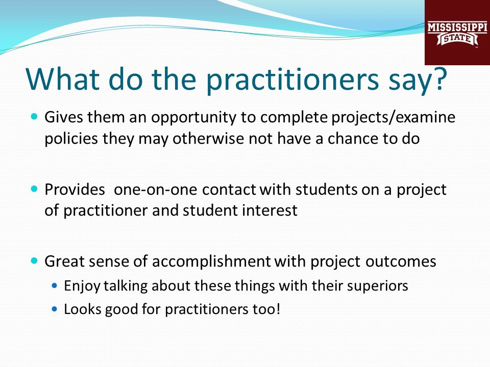 What do the practitioners say.