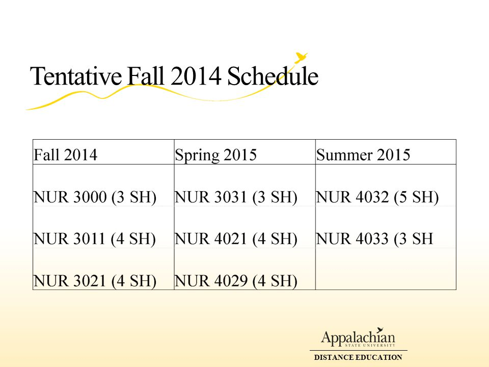 DISTANCE EDUCATION Tentative Fall 2014 Schedule