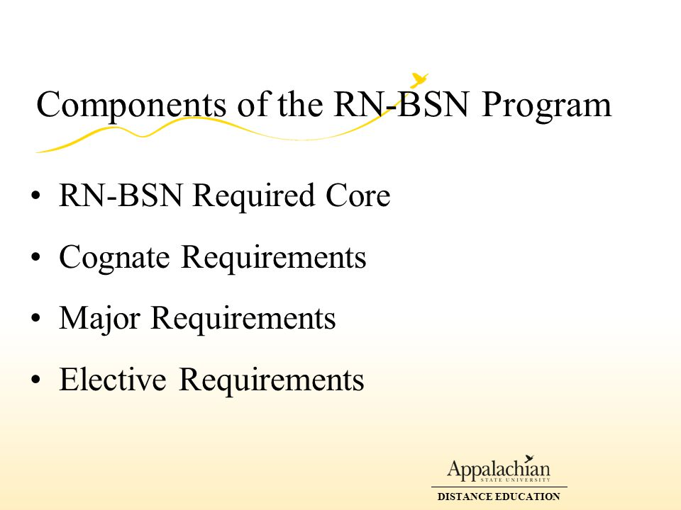 DISTANCE EDUCATION Components of the RN-BSN Program RN-BSN Required Core Cognate Requirements Major Requirements Elective Requirements