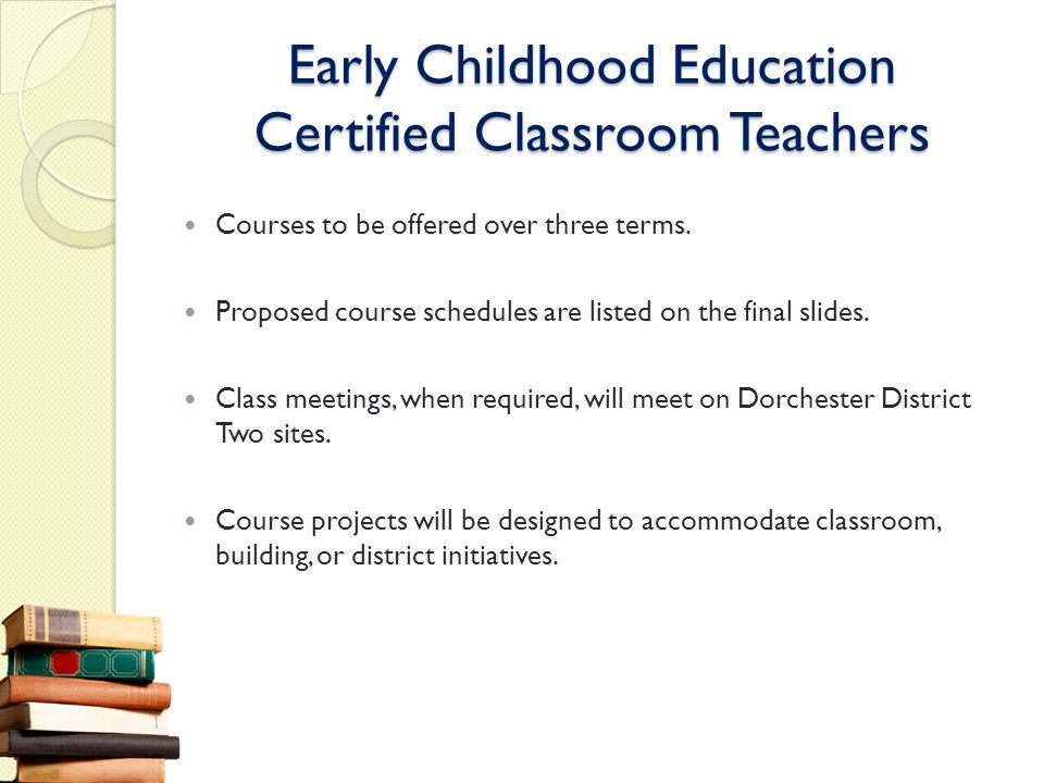 Early Childhood Education Certified Classroom Teachers Courses to be offered over three terms. Proposed course schedules are listed on the final slide