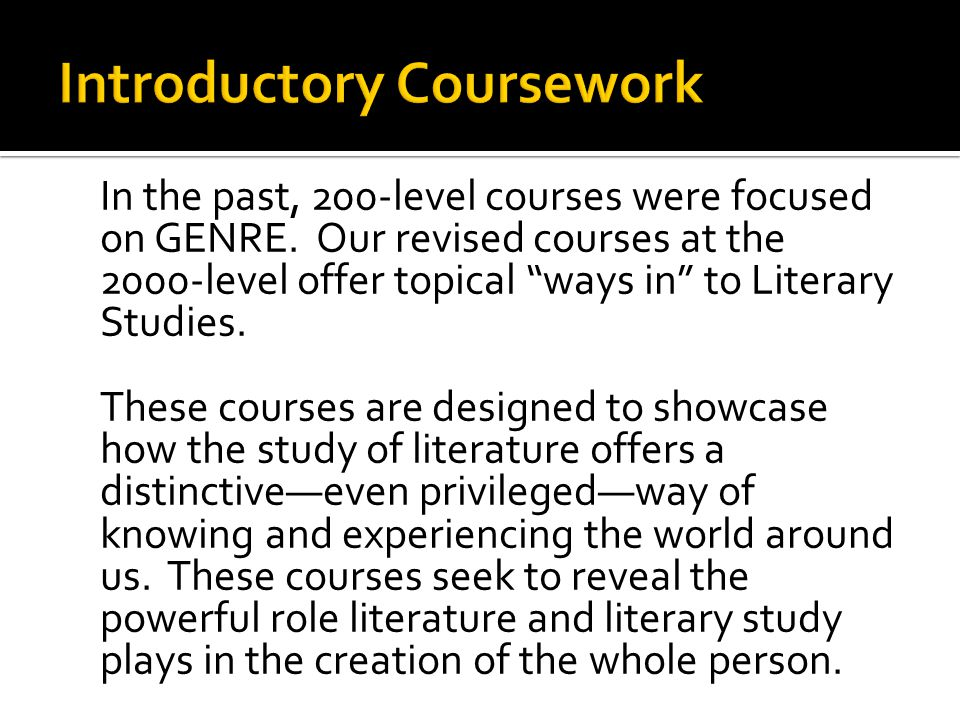 In the past, 200-level courses were focused on GENRE.