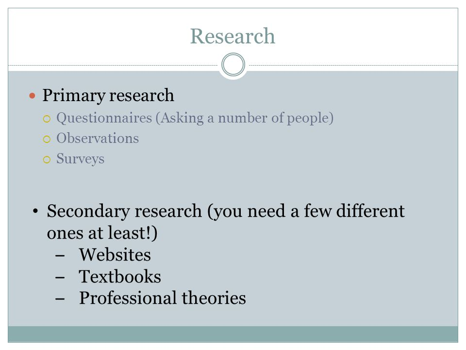 Research Primary research  Questionnaires (Asking a number of people)  Observations  Surveys Secondary research (you need a few different ones at least!) – Websites – Textbooks – Professional theories