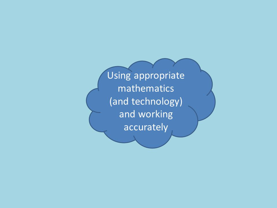 Using appropriate mathematics (and technology) and working accurately