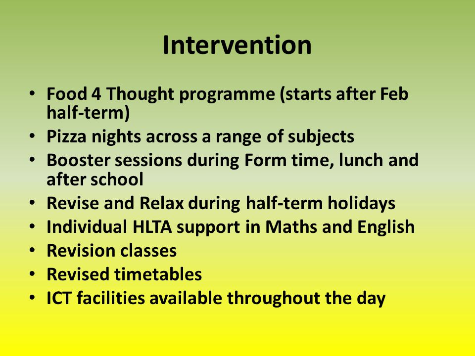 Intervention Food 4 Thought programme (starts after Feb half-term) Pizza nights across a range of subjects Booster sessions during Form time, lunch and after school Revise and Relax during half-term holidays Individual HLTA support in Maths and English Revision classes Revised timetables ICT facilities available throughout the day