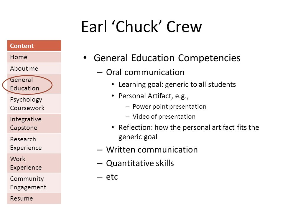 Earl 'Chuck' Crew Content Home About me General Education Psychology Coursework Integrative Capstone Research Experience Work Experience Community Engagement Resume General Education Competencies – Oral communication Learning goal: generic to all students Personal Artifact, e.g., – Power point presentation – Video of presentation Reflection: how the personal artifact fits the generic goal – Written communication – Quantitative skills – etc