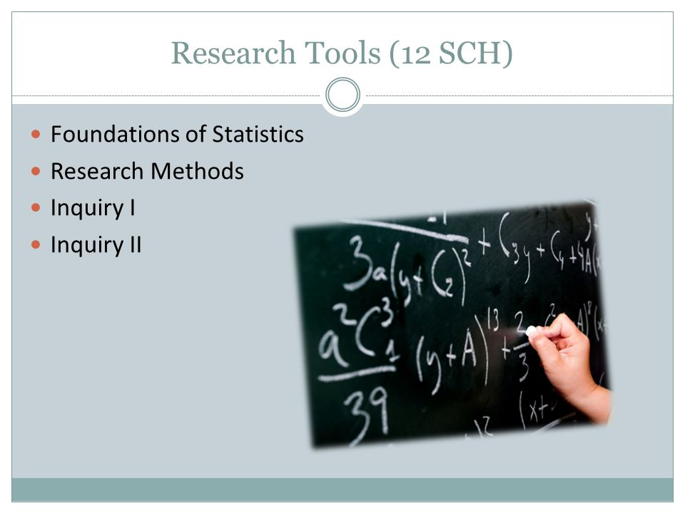 Research Tools (12 SCH) Foundations of Statistics Research Methods Inquiry I Inquiry II