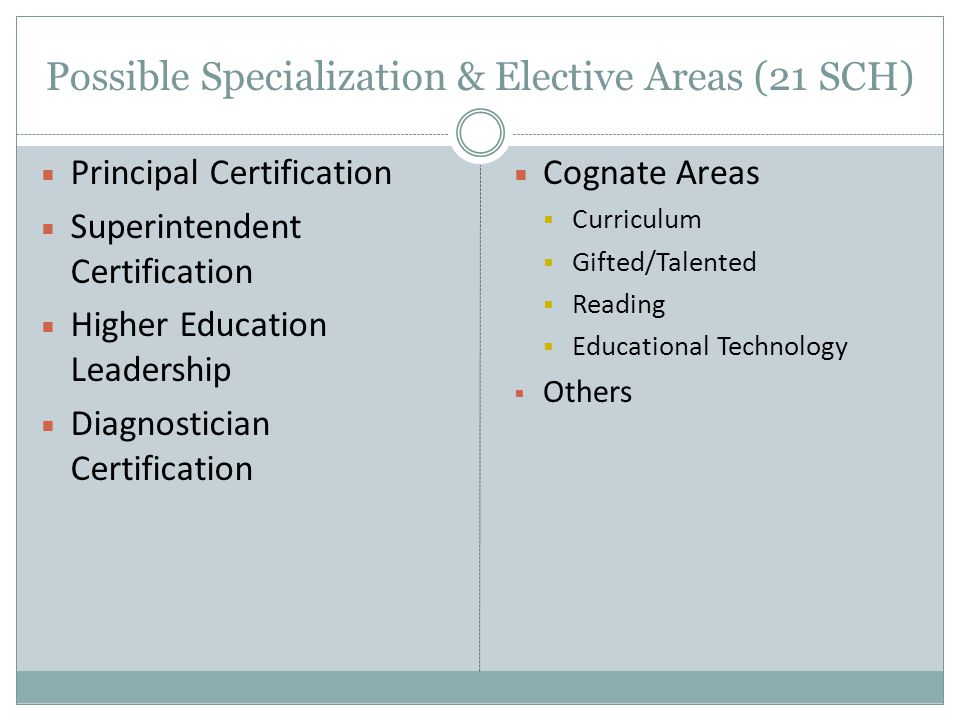 Possible Specialization & Elective Areas (21 SCH)  Principal Certification  Superintendent Certification  Higher Education Leadership  Diagnostician Certification  Cognate Areas  Curriculum  Gifted/Talented  Reading  Educational Technology  Others