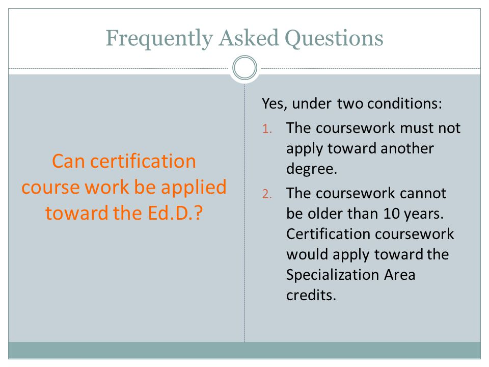 Can certification course work be applied toward the Ed.D..