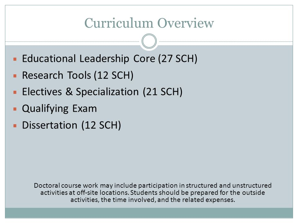 Educational Leadership Core (27 SCH)  Historical & Theoretical Foundations  Philosophy & Ethics  Law & Policy  Data Analysis & Organizational Improvement  Organizational Leadership  Politics & Governance  Critical Issues