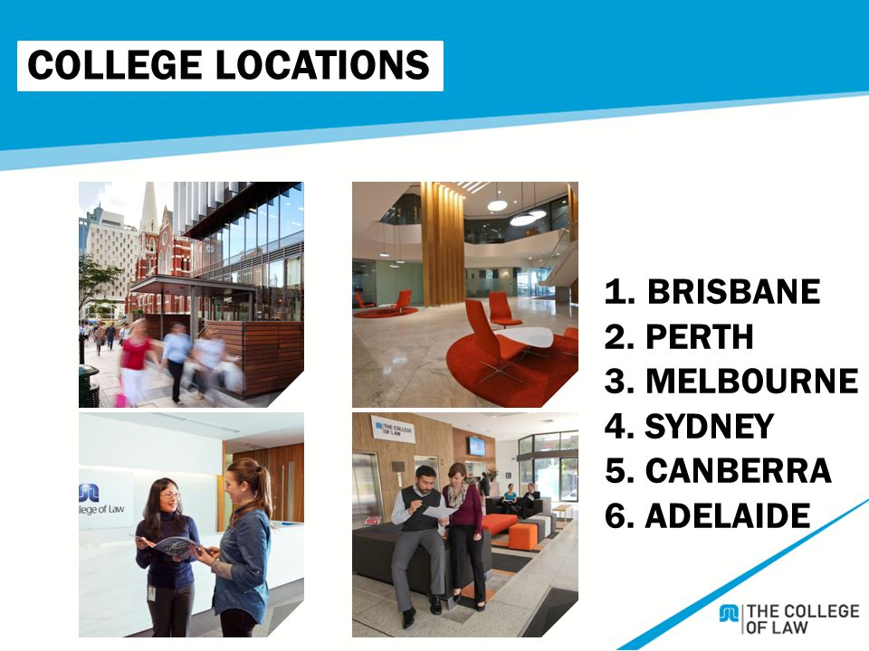 COLLEGE LOCATIONS 1. BRISBANE 2. PERTH 3. MELBOURNE 4. SYDNEY 5. CANBERRA 6. ADELAIDE