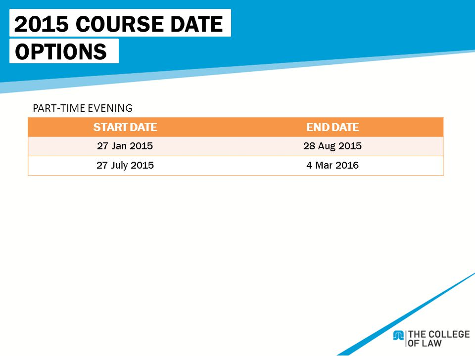 2015 COURSE DATE OPTIONS START DATEEND DATE 27 Jan 201528 Aug 2015 27 July 20154 Mar 2016 PART-TIME EVENING
