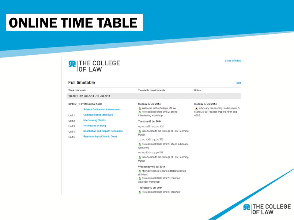 ONLINE TIME TABLE