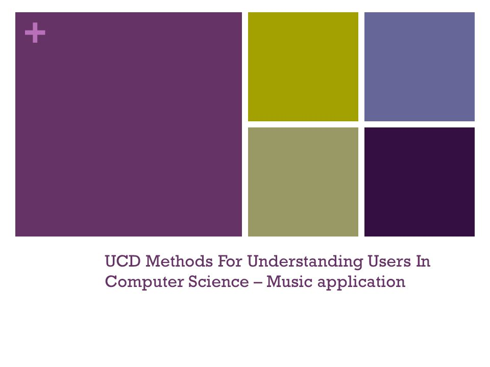 + UCD Methods For Understanding Users In Computer Science – Music application