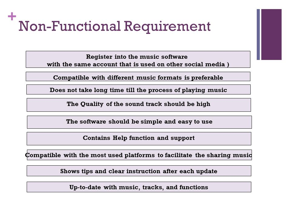 + Non-Functional Requirement Register into the music software with the same account that is used on other social media ) Does not take long time till the process of playing music The software should be simple and easy to use Contains Help function and support The Quality of the sound track should be high Compatible with the most used platforms to facilitate the sharing music Compatible with different music formats is preferable Shows tips and clear instruction after each update Up-to-date with music, tracks, and functions